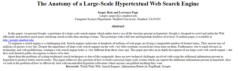 The Anatomy Of A Large-Scale Hypertextual Search Engine