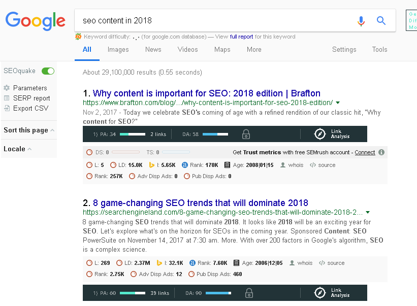 """""""seo content in 2018"""" search result screenshot"""