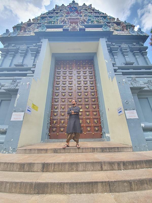 Rueben Rajkumar in a Temple