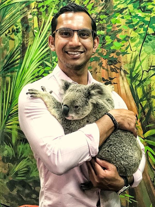 Rueben Rajkumar with a Koala