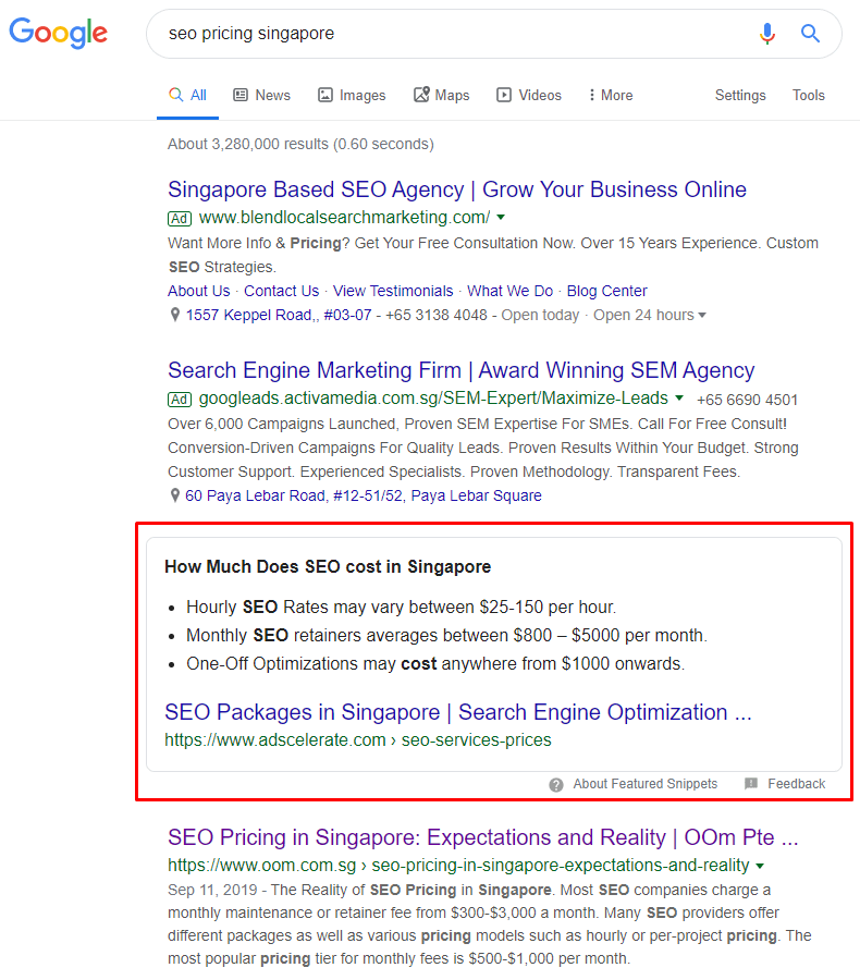 SERP result for SEO pricing in Singapore