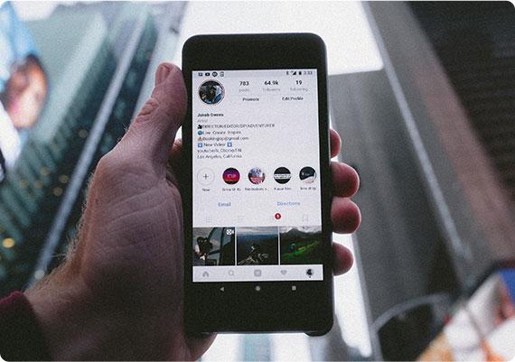 social media app on mobile