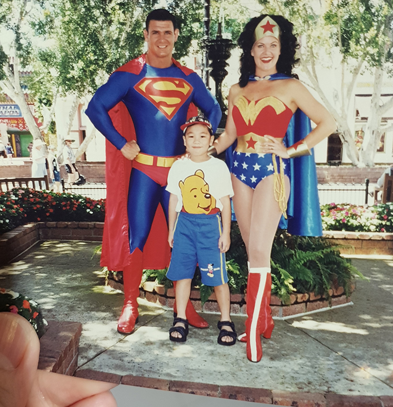 Melvin Fam with Superman and Wonder Woman