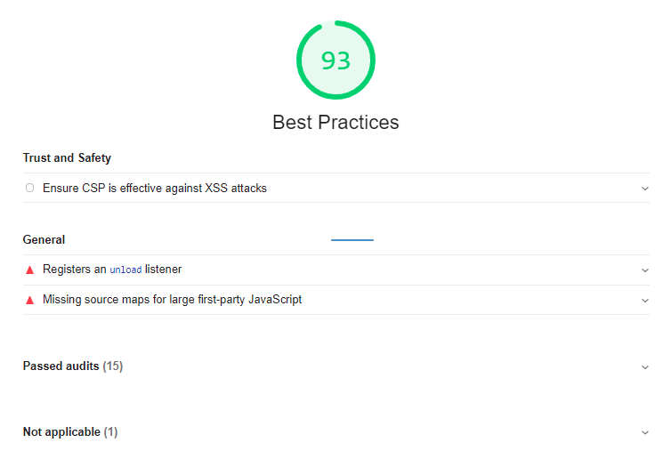Google Lighthouse Best Practices